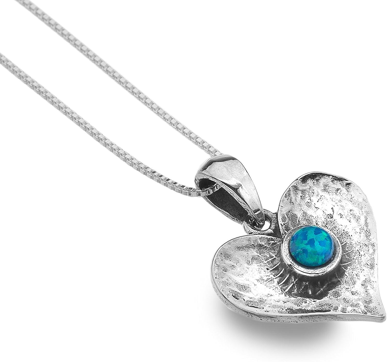 Gemas de mar de plata de ley oxidada azul ópalo colgante de corazón 45cm cadena–fabricado en Reino Unido–Hallmarked