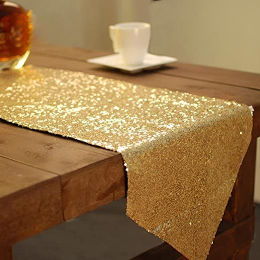 lankuo fabric-table de lentejuelas brillante y dorado camino de ...