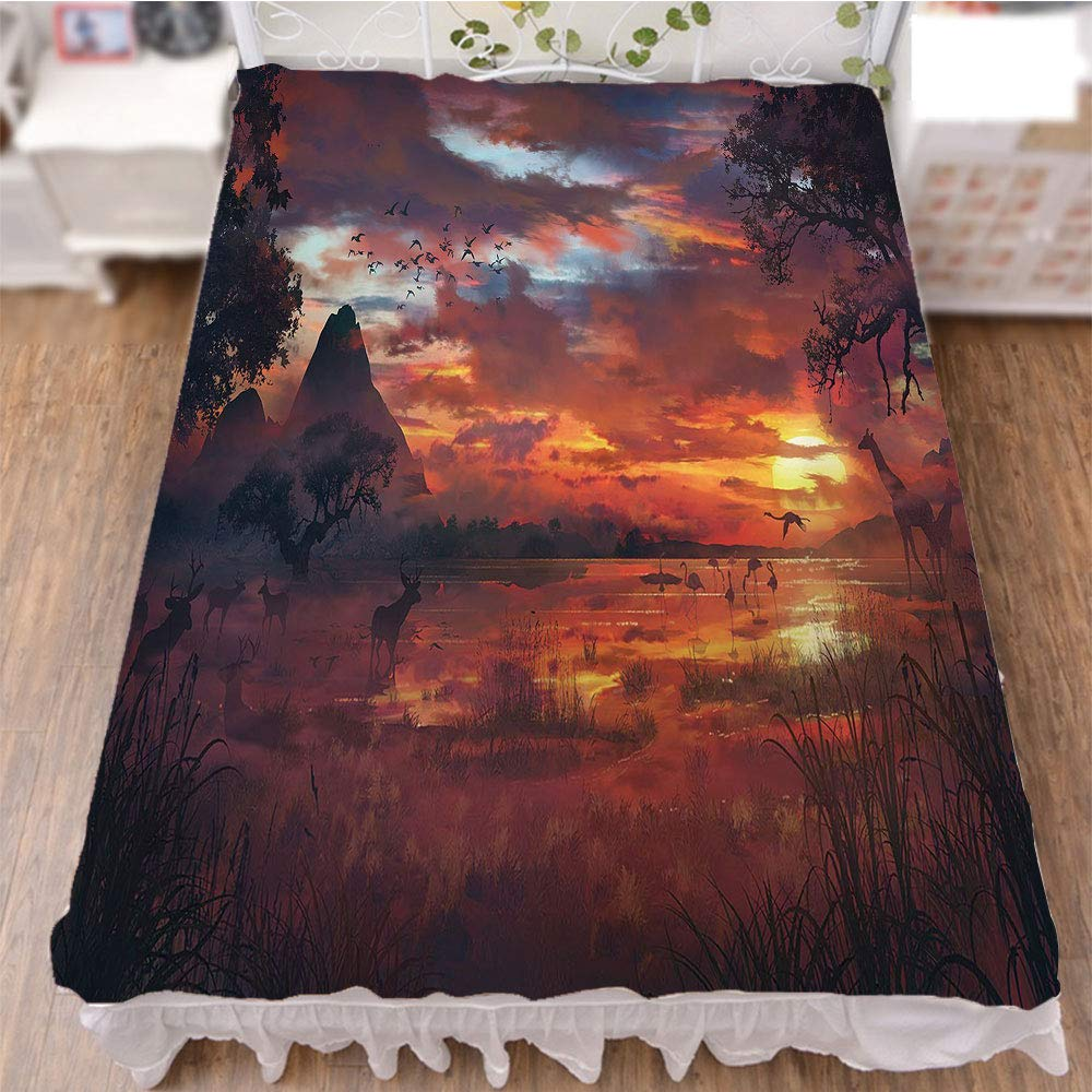 iPrint Bed Skirt Dust Ruffle Bed Wrap 3D Print,Seemed View with Safari Wild Animals Gazelles,Best Modern Style Bed Skirt for Men and Women by 47.2''x78.7''