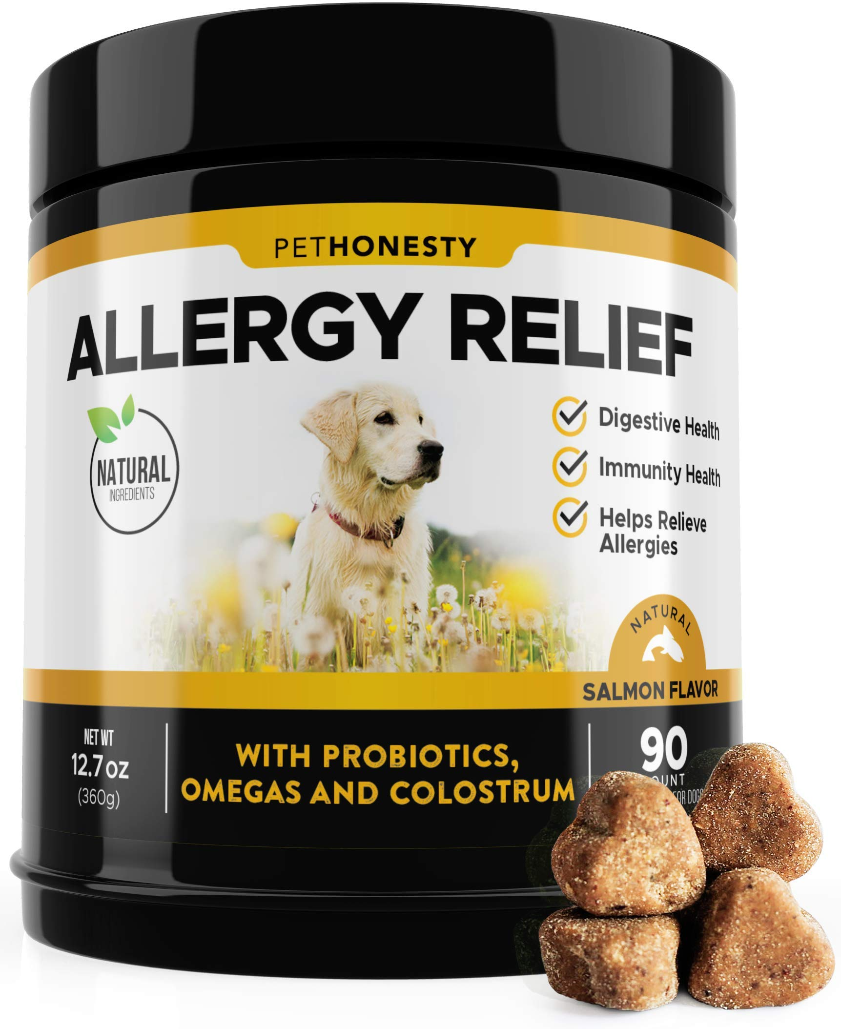 Allergy Relief Immunity Supplement for Dogs - Omega 3 Salmon Fish Oil, Colostrum, Digestive Prebiotics & Probiotics - for Seasonal Allergies + Anti Itch, Skin Hot Spots Soft Chews by PetHonesty