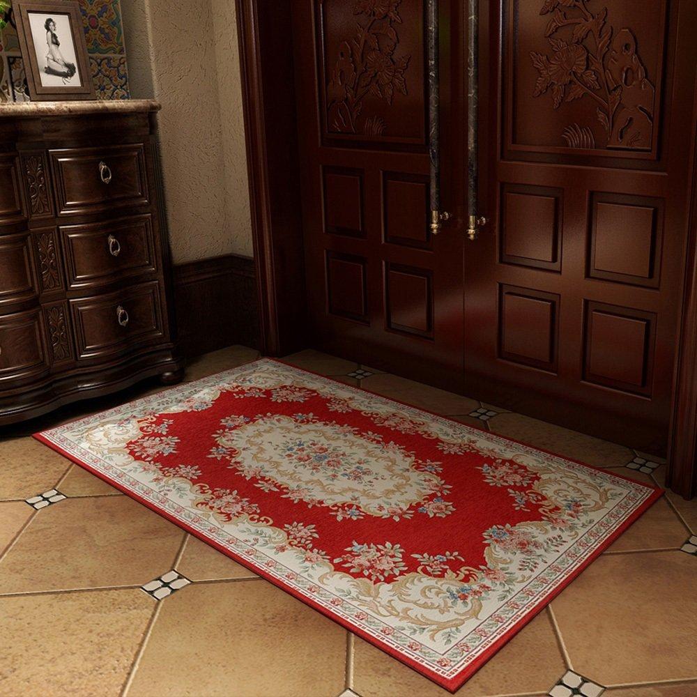 European Modern Country Style Jacquard Rug Bedroom Bedside Living Room Bathroom Entry Skid-resistant Rug Washable Floor Pad ( Color : 100150cm-d )