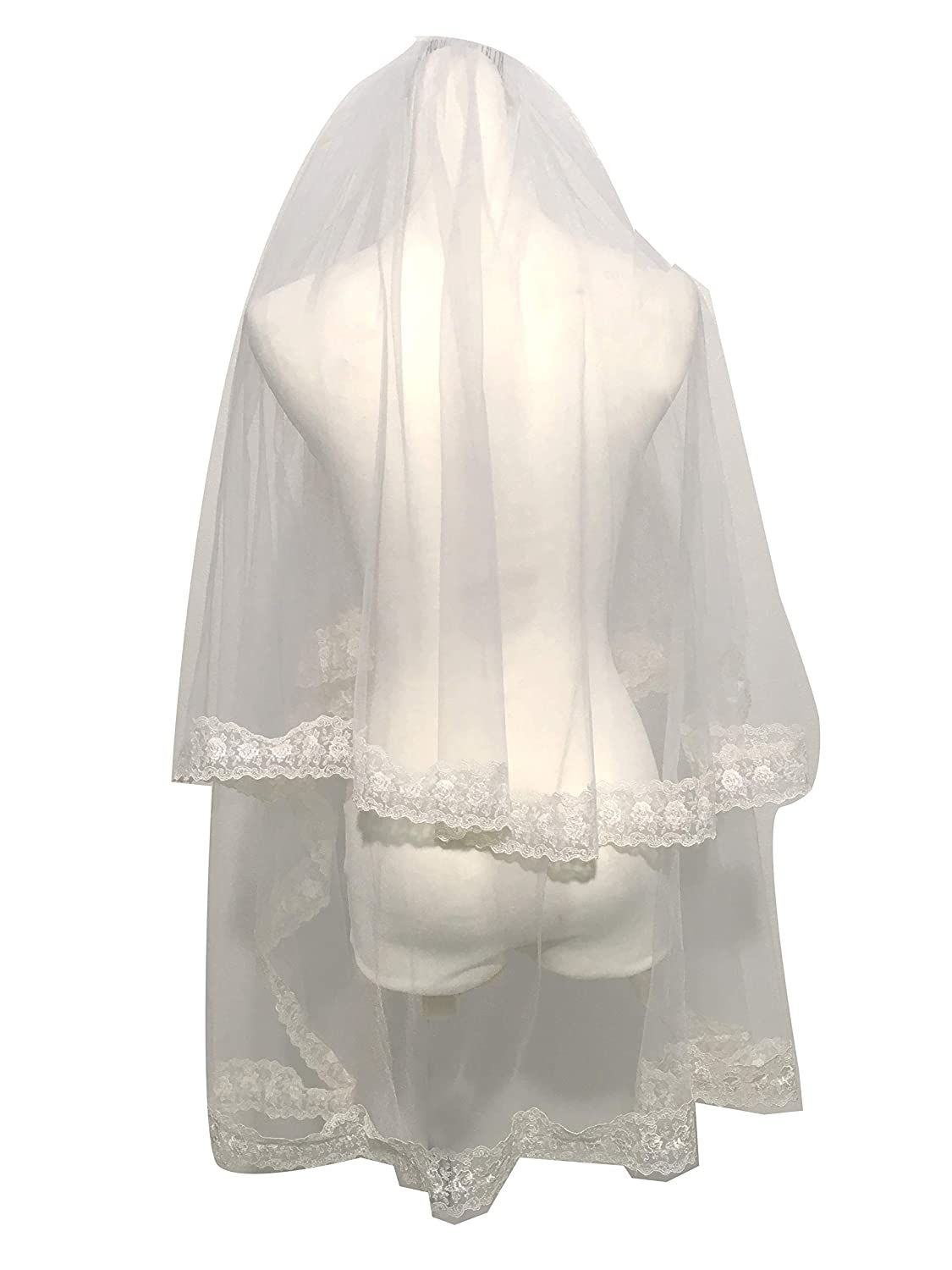 Past Elbow 2 Layers Bridal Veil with lace on The Edge Diamond White