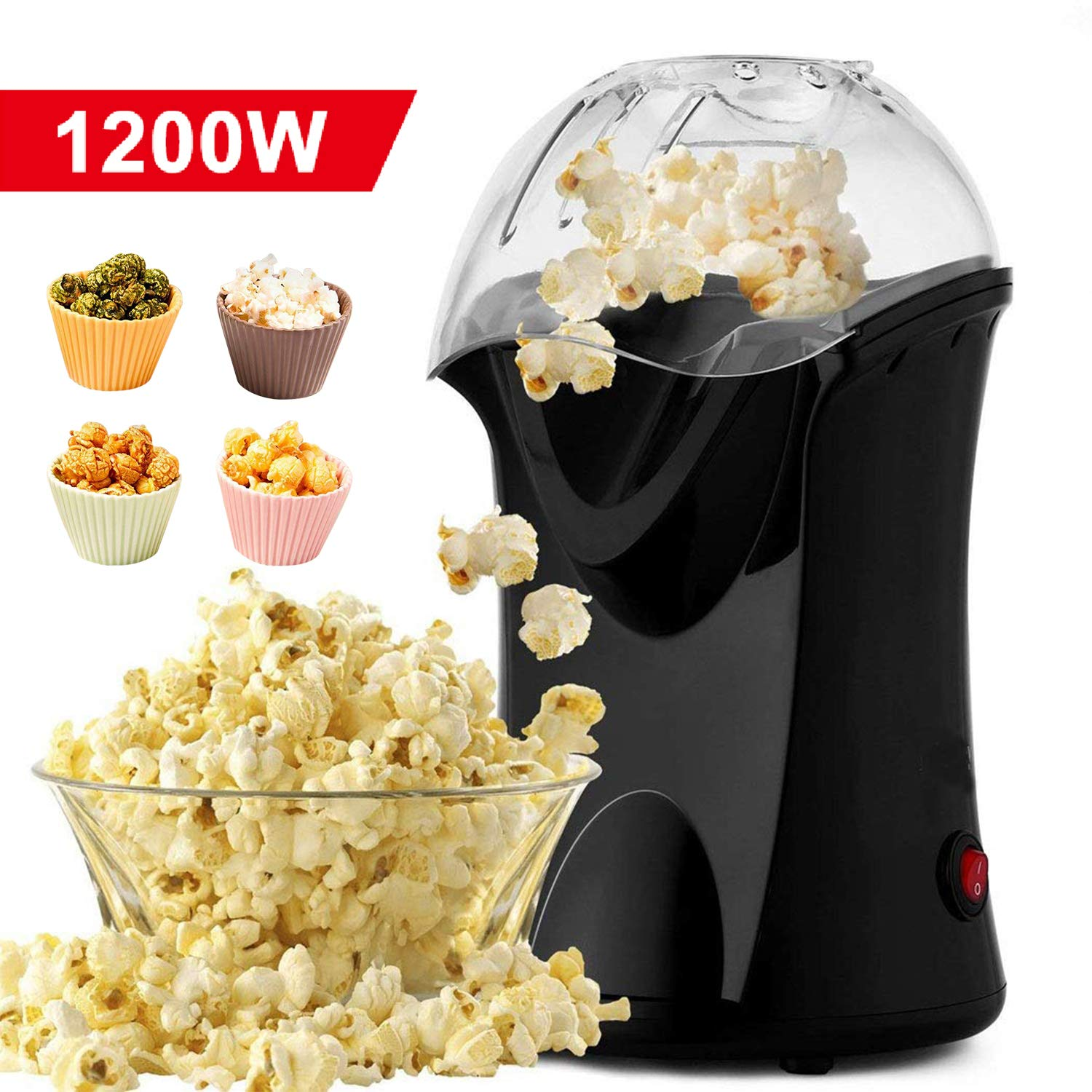 Homdox Hot Air Popper Popcorn Maker, 1200W Hot Air Popcorn Popper, Electric Popcorn Machine with Removable Lid for Home Use, No Oil Needed, Great for Kids (Black/1200W) by Homdox