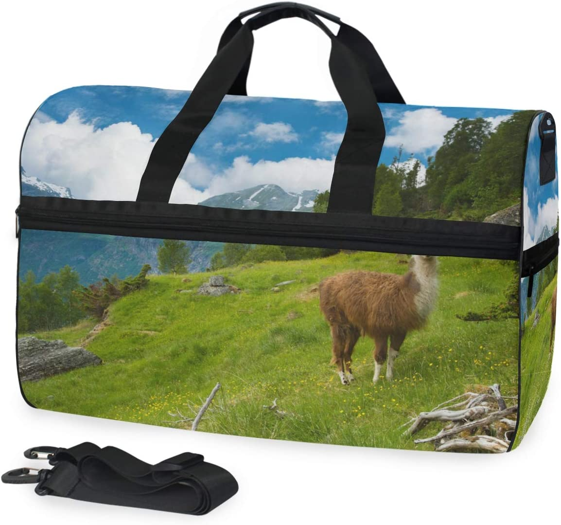 Travel Duffels Llamas In The Mountains Duffle Bag Luggage Sports Gym for Women /& Men