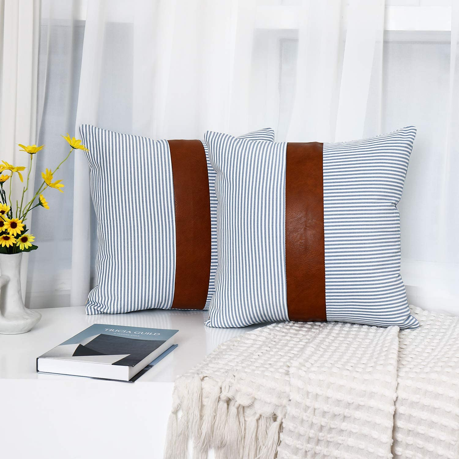 Tiaronics Decorative Throw Pillow Case Faux Stripe Faux Leather Cushion Cover for Sofa Couch Bed Boho Modern Decor Pillow 18x18 inch (2PK Light Blue)