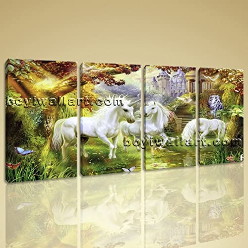 Amazon.com: Large Unicorn Horse Painting Classic Canvas Art Bedroom ...