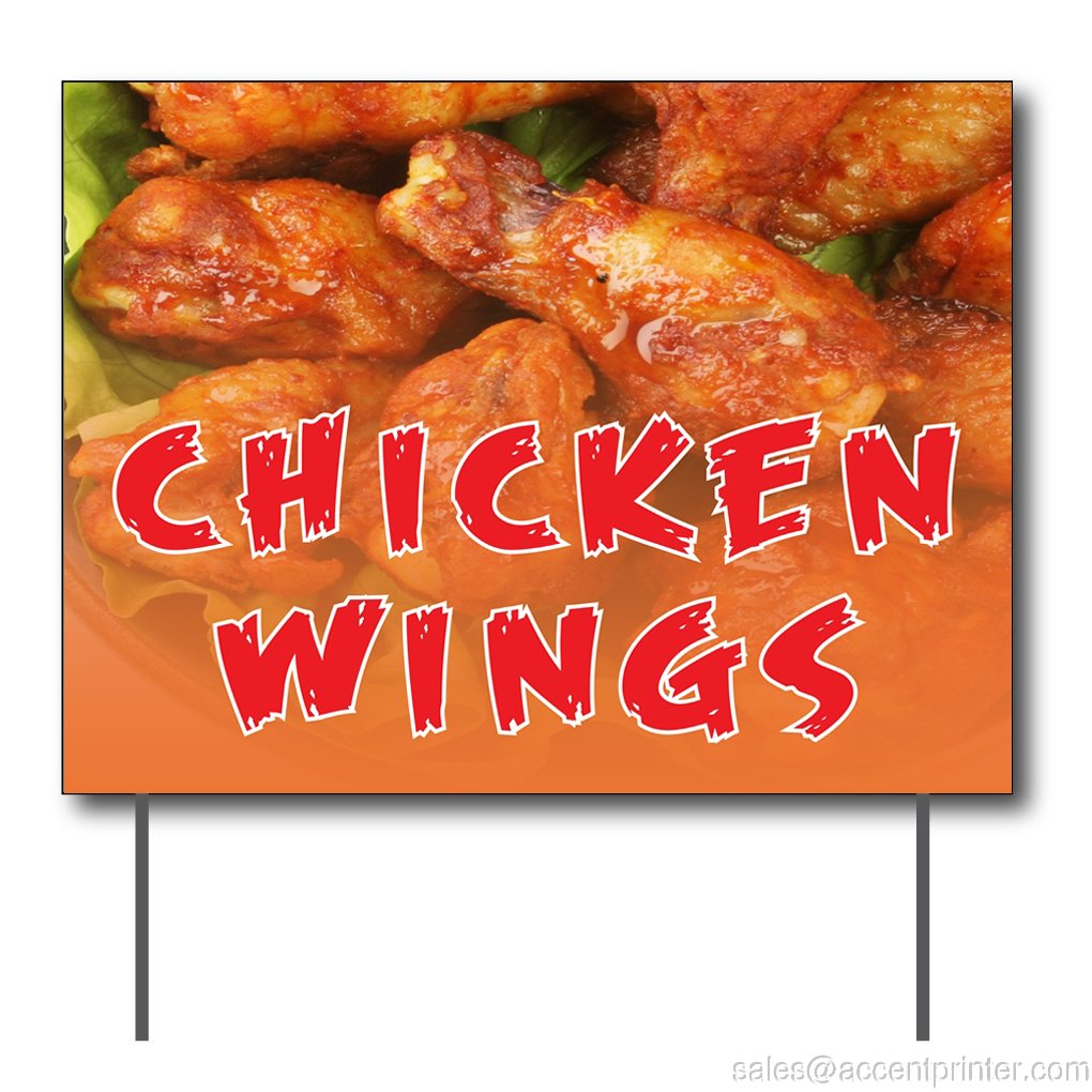Chicken Wings Curbside Sign 24w x 18h Full Color Double Sided