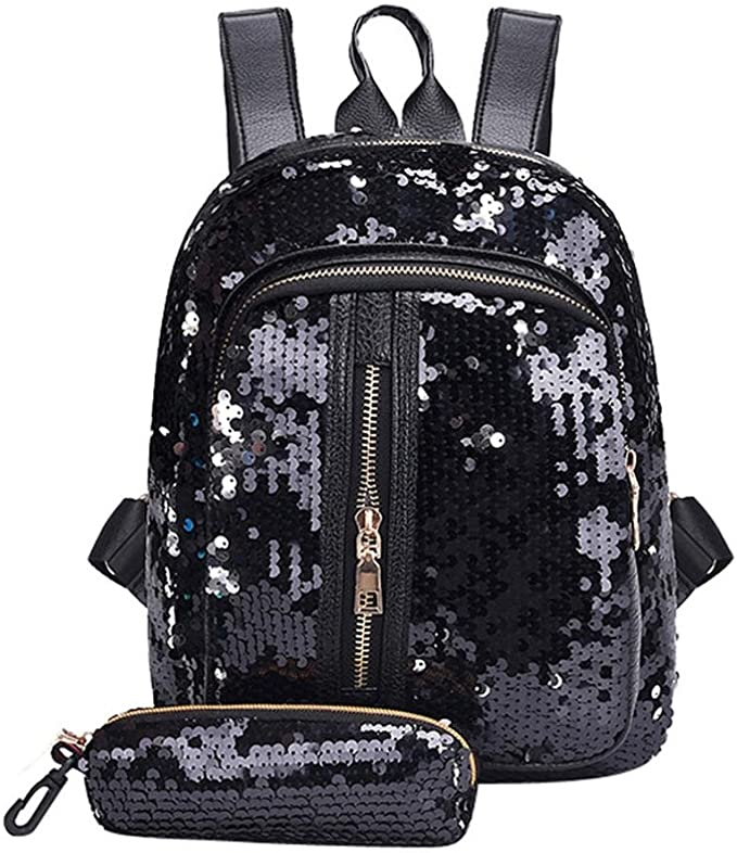 Women Girls Sequin Backpack Fashion Style Wild Casual Bag