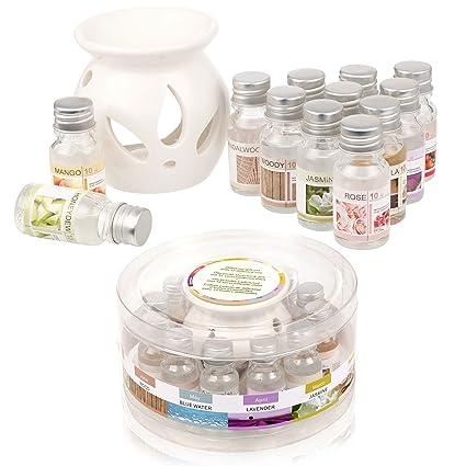 Lámpara de aceite cerámica – Estuche regalo con 12 aceites aromáticos