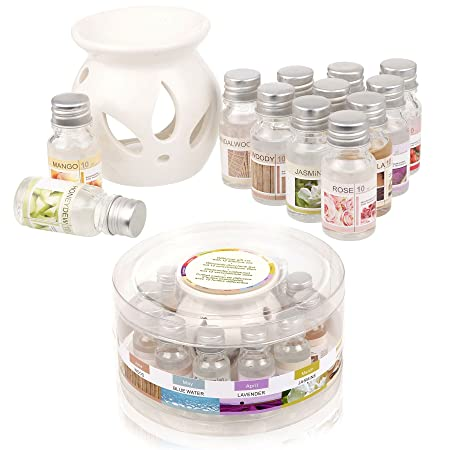 Ceramic Oil Burner Gift Set With 12 Fragrance Oils: Amazon.co.uk ...