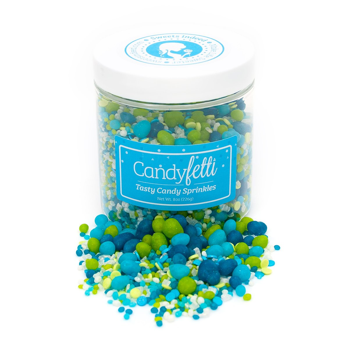 Candy Sprinkles | Under The Sea Candyfetti | 8oz Jar | Green and Blue | MADE IN THE USA! | Edible Confetti by Sweets Indeed (Image #2)