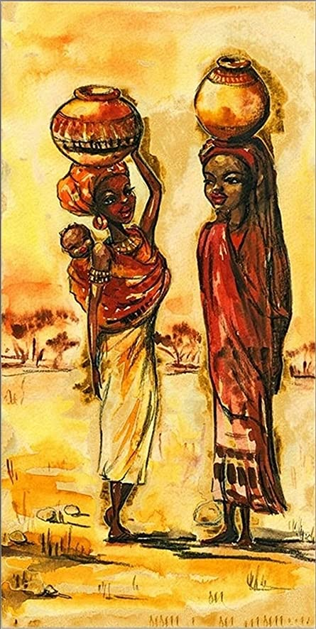 Amazon.com: Startonight Canvas Wall Art African Women, Yellow USA ...