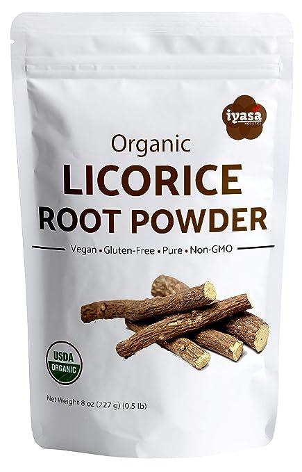 Polvo de raíz de regaliz orgánico (Mulethi), glicerriza ...
