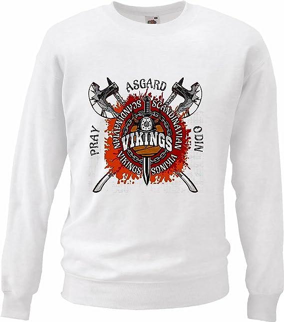 Sudaderas Suéter Vikingos escandinavos Asgard ESCANDINAVIA Viking CRÁNEO del Casco de Viking Wiki en Blanco: Amazon.es: Ropa y accesorios