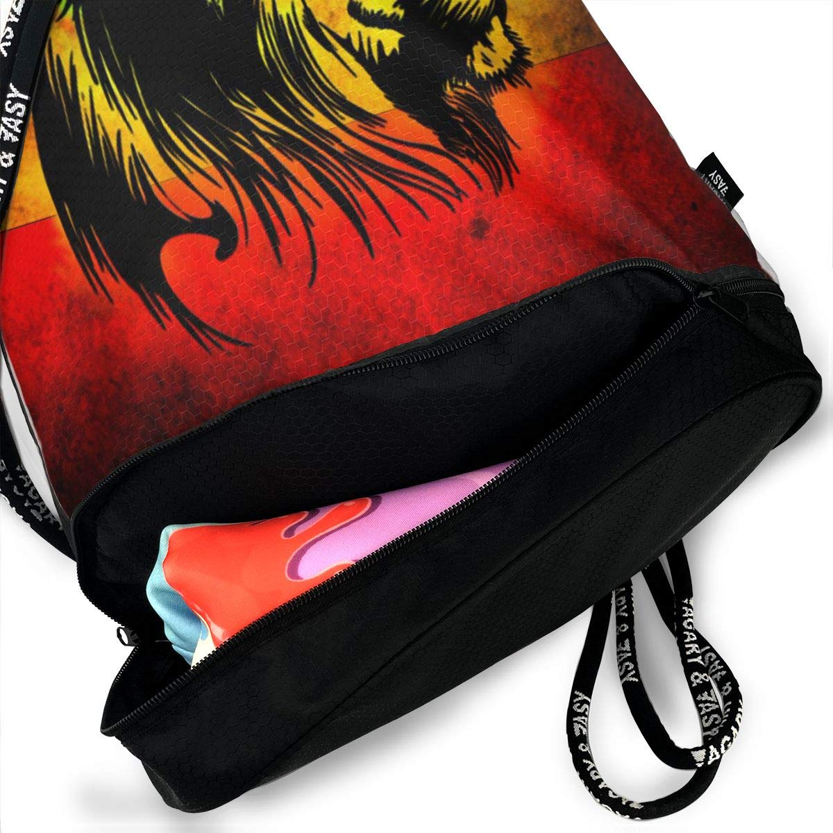 HUOPR5Q Lion-Flag Drawstring Backpack Sport Gym Sack Shoulder Bulk Bag Dance Bag for School Travel