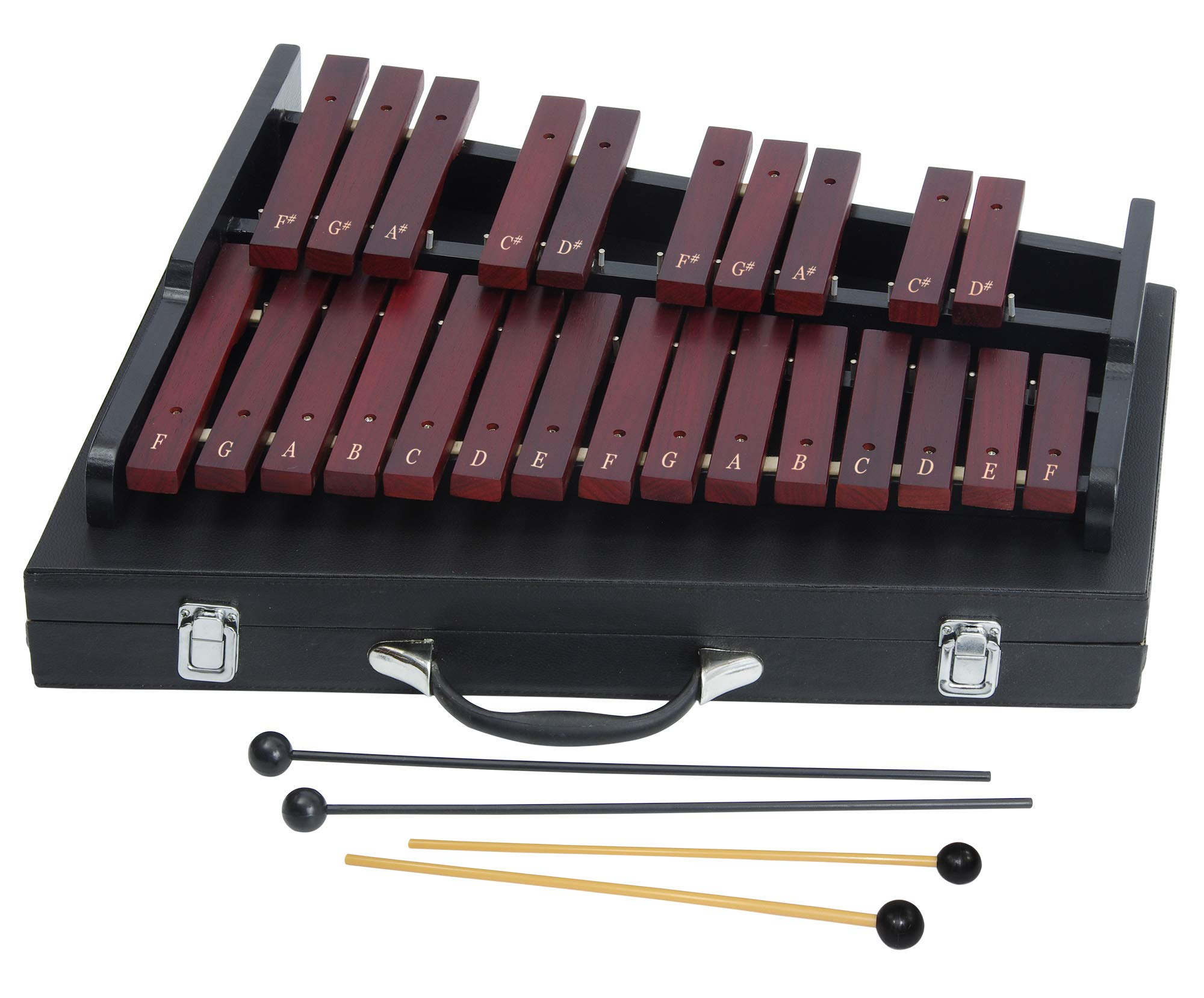 Wooden Xylophone for Adults - 25-note Xylophone with professional case - 4 mallets - Notes for Beginners by inTemenos