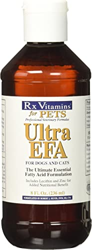 Rx Vitamins for Pets Ultra EFA for Dogs Cats – Veterinary Essential Fatty Acid Formula – Help Joint Pain Stiffness – 8 fl. oz.