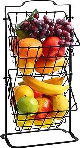 Furnikko 2 Tier Fruit Basket Metal Mini Countertop Fruit Storage Holder, Multipurpose Rack for Fruits, Veggies, Snacks, K-cup, Potato, Onion, Antique Black