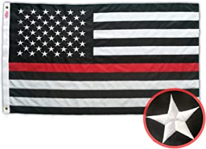 WINBEE Thin Red Line Flag 3x5 Ft with Embroidered Stars, Sewn Stripes and Long Lasting Nylon, American Flag Black and White Honoring Firefighters and EMTs, US Flag Decor of Firefighter Flag.