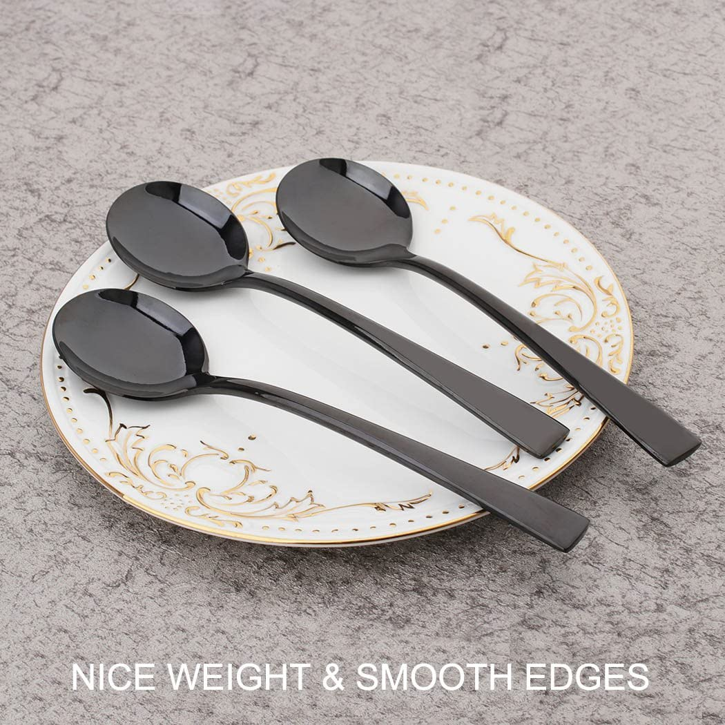 Onlycooker 6 Piece Black Round Soup Spoon 7.3-inch Stainless Steel Bouillon Spoons Set for 6 Table Dinner Silverware Set Flatware Mirror Polished Dishwasher Safe