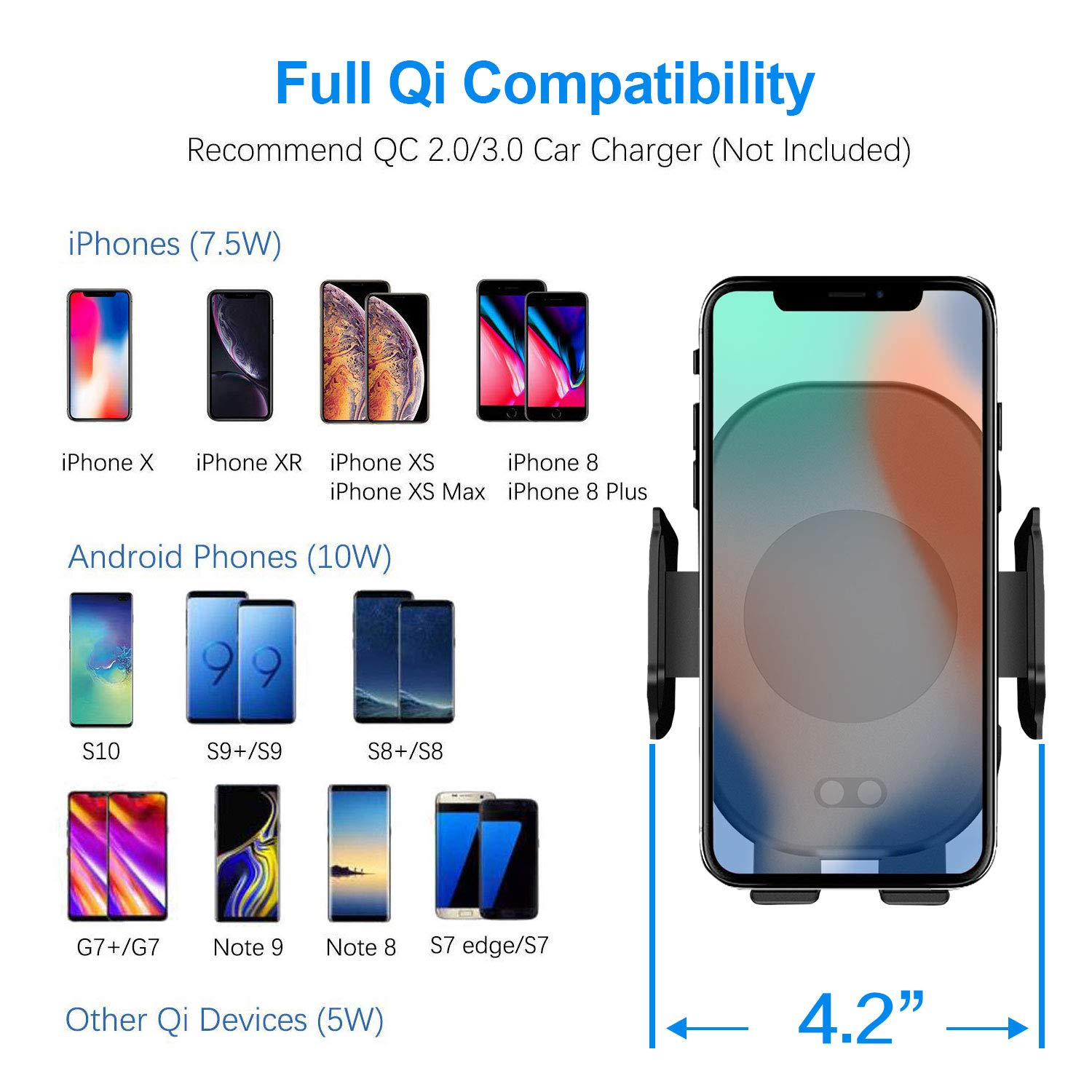 Windshield Dashboard Air Vent Phone Mount Compatible with iPhone X Xs Max Xr 8 Infrared Automatic Clamping Qi 10W 7.5W Fast Charger car Mount Samsung S10 S9 S8 Note9 Wireless Car Charger Mount