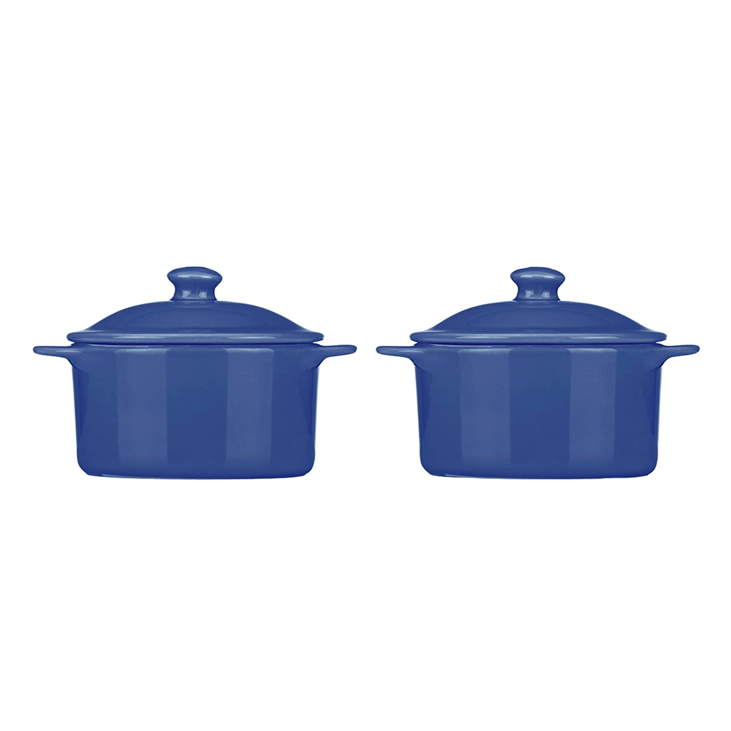 Mario Batali Stoneware Set of 2 Individual 10-Ounce Round Casseroles by Dansk, Cobalt