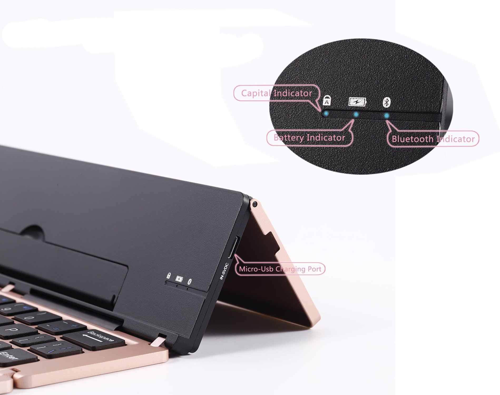 Lucky2Buy Foldable Portable Bluetooth Wireless Keyboard with Kickstand Holder For iPhone, iPad, Andriod Smartphone and Windows Tablet - Rose Gold by Lucky2Buy (Image #6)