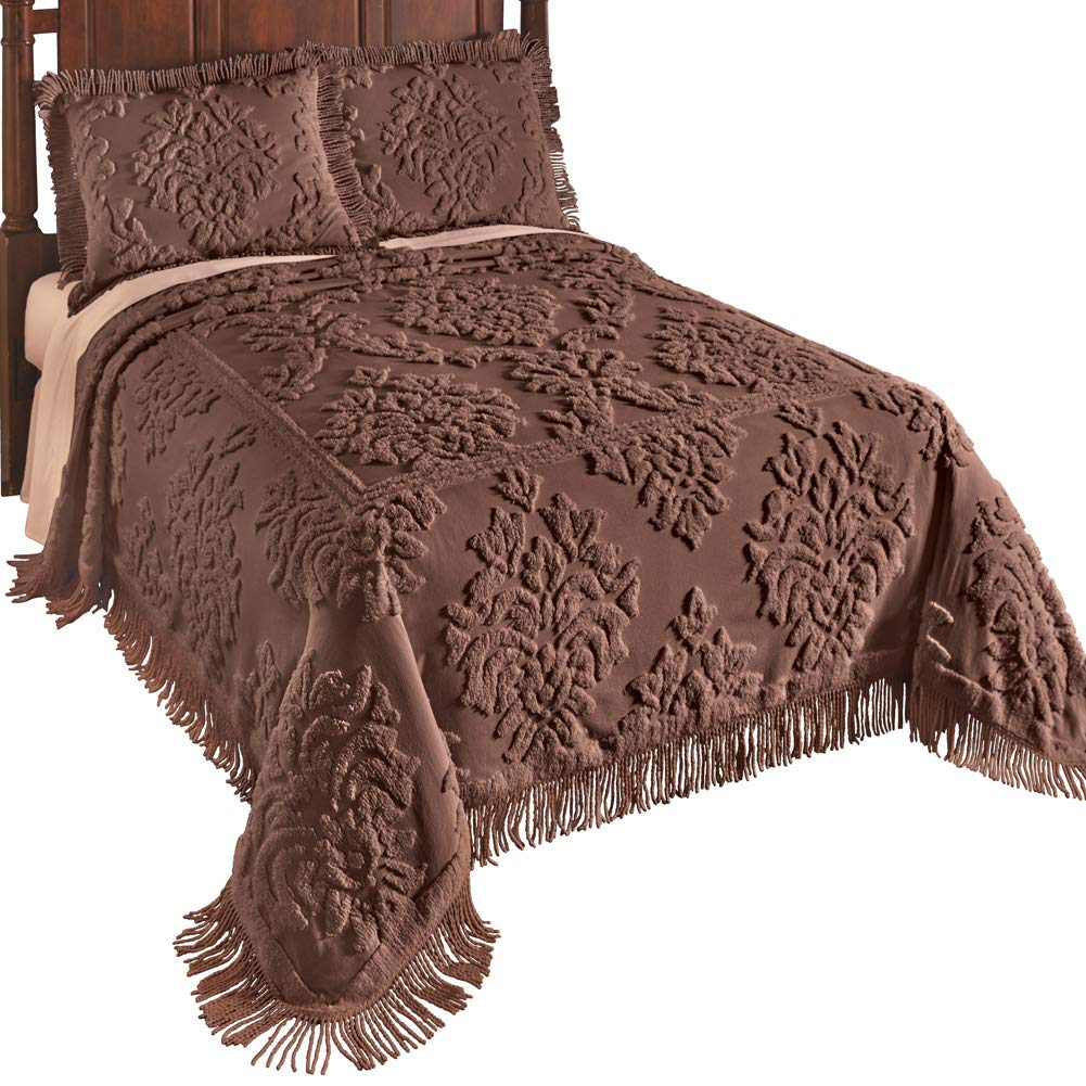Collections Etc Logan Raised Medallion Chenille Bedspread with Fringe Border, Ivory, Twin Winston Brands
