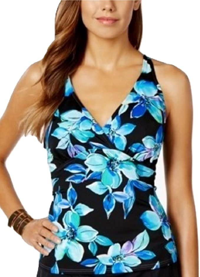 Aleumdr Womens Plunge V Neck Halter Backless Striped Tankini Top Swims.. NO TAX