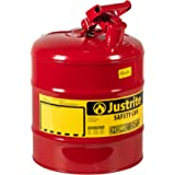 Justrite 7150100 Type I Galvanized Steel Flammables Safety Can, 5 Gallon Capacity, Red
