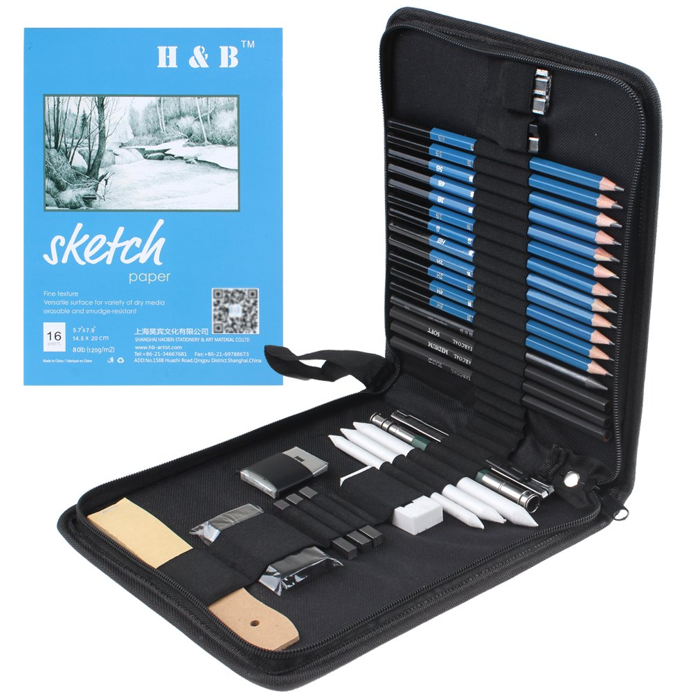 33 Piece Professional Art Kit Drawing Pencils with Sketch Kit, Charcoal Pencils, Graphite Pencils, Erasers and Free Sketchpad with Kit Bag
