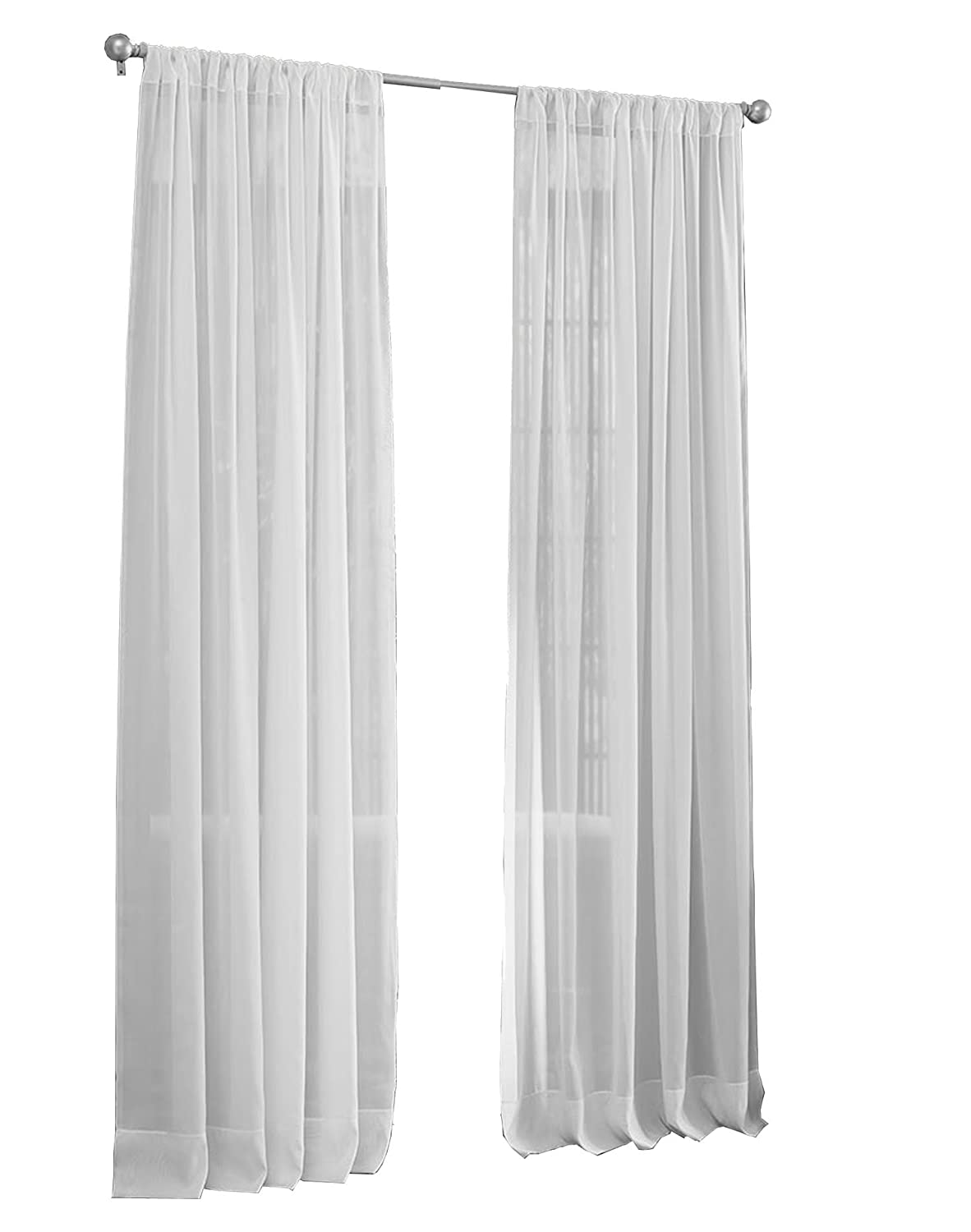 Pack of 1 LA Linen Sheer Voile Drape Panel 72 by 118 Ivory 72 by 118 VoileDrap/_118X72/_Ivory