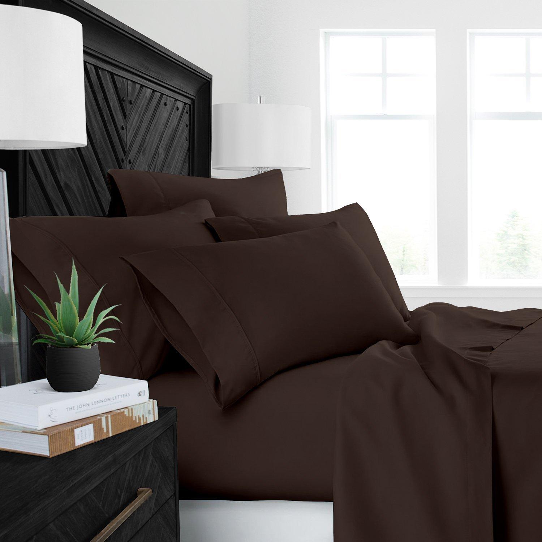 睡眠回復 豪華ベットシーツ 天然アロエベラ加工済み環境に優しい、低刺激性 心地良いシーツ4点セット/アロエベラ保湿 フル ブラウン RG-SRALOESHEET-F-BRN B0756JMFKX フル|ブラウン ブラウン フル