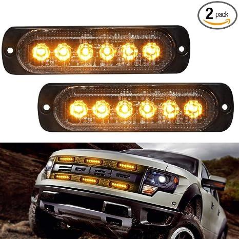 Led Strobe Lights For Trucks >> Amazon Com Amber Light Head Led Strobe Lights 6 Led 18
