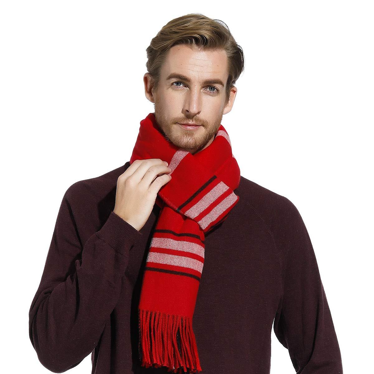 Bufandas de rayas para hombres de mujeres, gruesa larga y estolas, regalo ideal de año nuevo de Navidad, grande 80x27.5pulgada, Varios colores