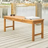 Walker Edison Rendezvous Modern Solid Acacia Wood Slatted Patio Bench, 53 Inch, Brown