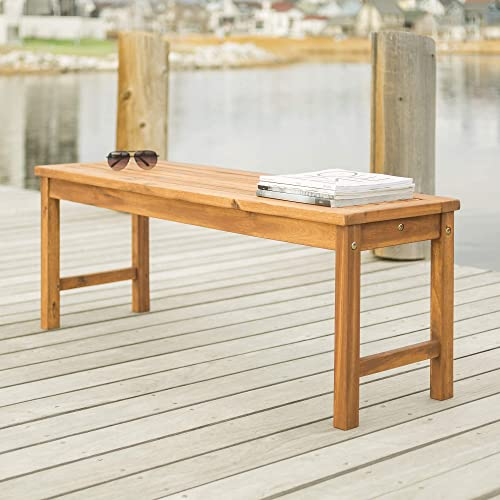 Walker Edison Furniture Company Solid Acacia Wood Patio Bench