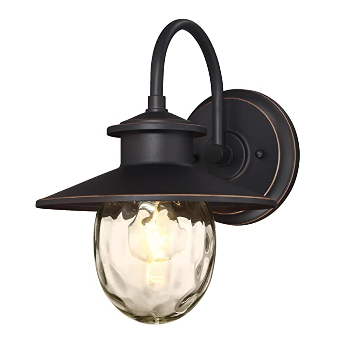 Westinghouse Lighting 6313100 Delmont One-Light Outdoor Wall Fixture, Oil Rubbed Bronze Finish with Highlights and Clear Water Glass