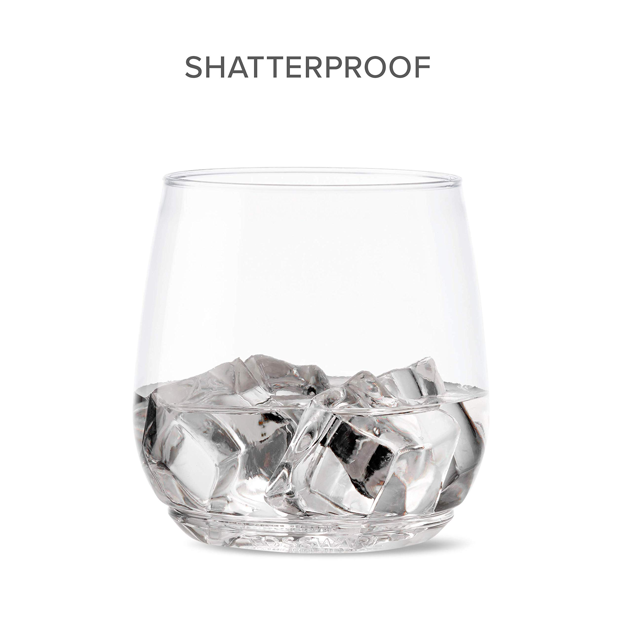 TOSSWARE 12oz Tumbler Jr - Set of 252 recyclable cocktail and whiskey plastic cup - stemless, shatterproof and BPA-free, Clear Glass by TOSSWARE (Image #6)