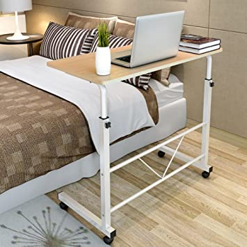 73-92 cm Altura Ajustable Mesa Portátil para Computadora Escritorio de Pie Móvil con Rueda Carrito para Cama y Sofá (Amarillo): Amazon.es: Hogar