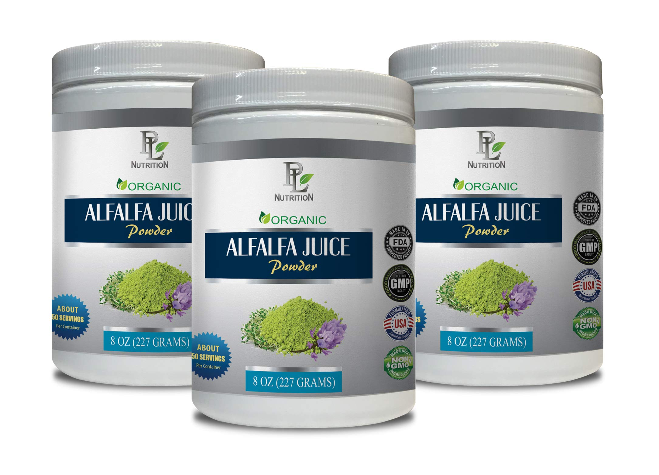 antioxidant Supplement for Men - Alfalfa Organic - Juice Powder - Powder Alfalfa - 3 Cans 24 OZ (150 Servings)