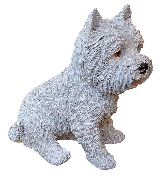 Steinfigur Westi Hund Hundefigur Gartendeko Gartenfigur Tierfigur Geschenkidee