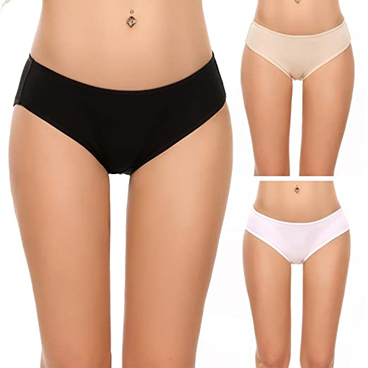621cb643b Aimado Cotton Panty Womens Breathable Thongs Briefs 3 Pack Assorted Colors ( Black