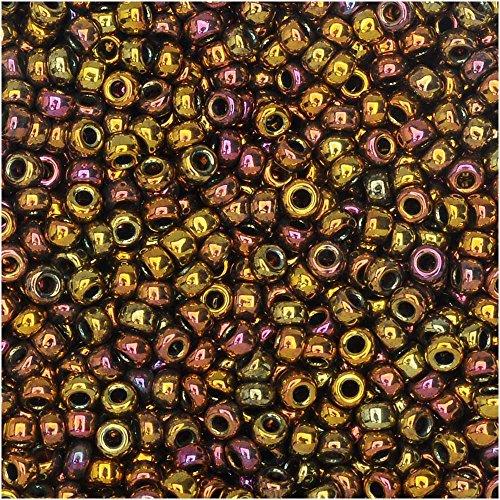 (Miyuki Round Seed Beads Size 11/0 8.5g Metallic Gold Iris)