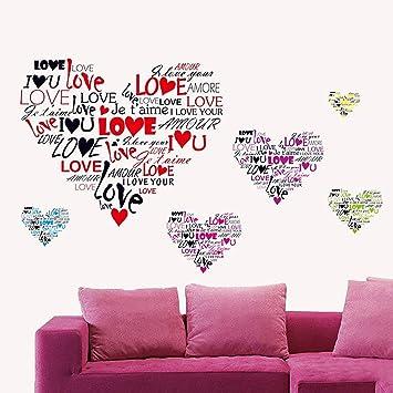pegatina pared vinilo decorativo adhesivo decoracin dormitorio de pareja hogar bar restaurante corazn de amor romntico