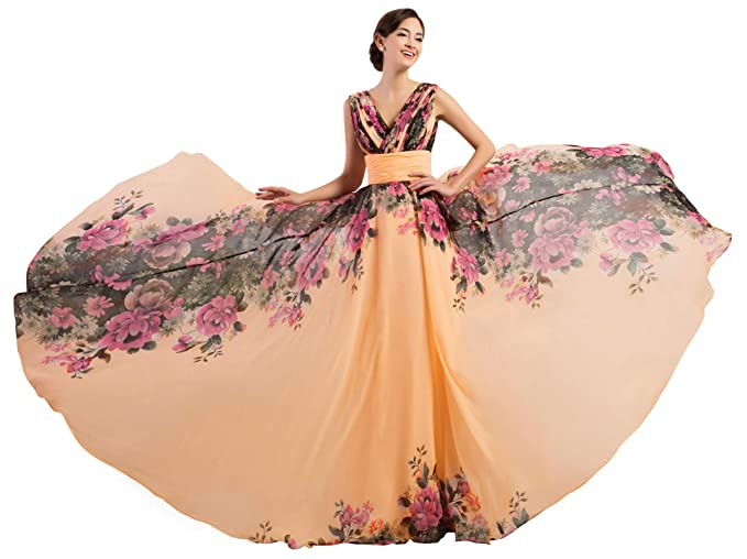 e6a8404496 Long Evening Wedding Bridesmaid Dress for Women Chiffon Ball Gowns Prom  Dress  Amazon.co.uk  Clothing