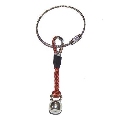Llavero Kettlebell Cuerda Roja con guardacabos y Manguitos metálicos y Goma. Regalo Crossfit