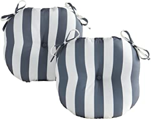 Greendale Home Fashions Set of 2 Outdoor 15-inch Bistro Seat Cushion, Canopy Stripe Gray