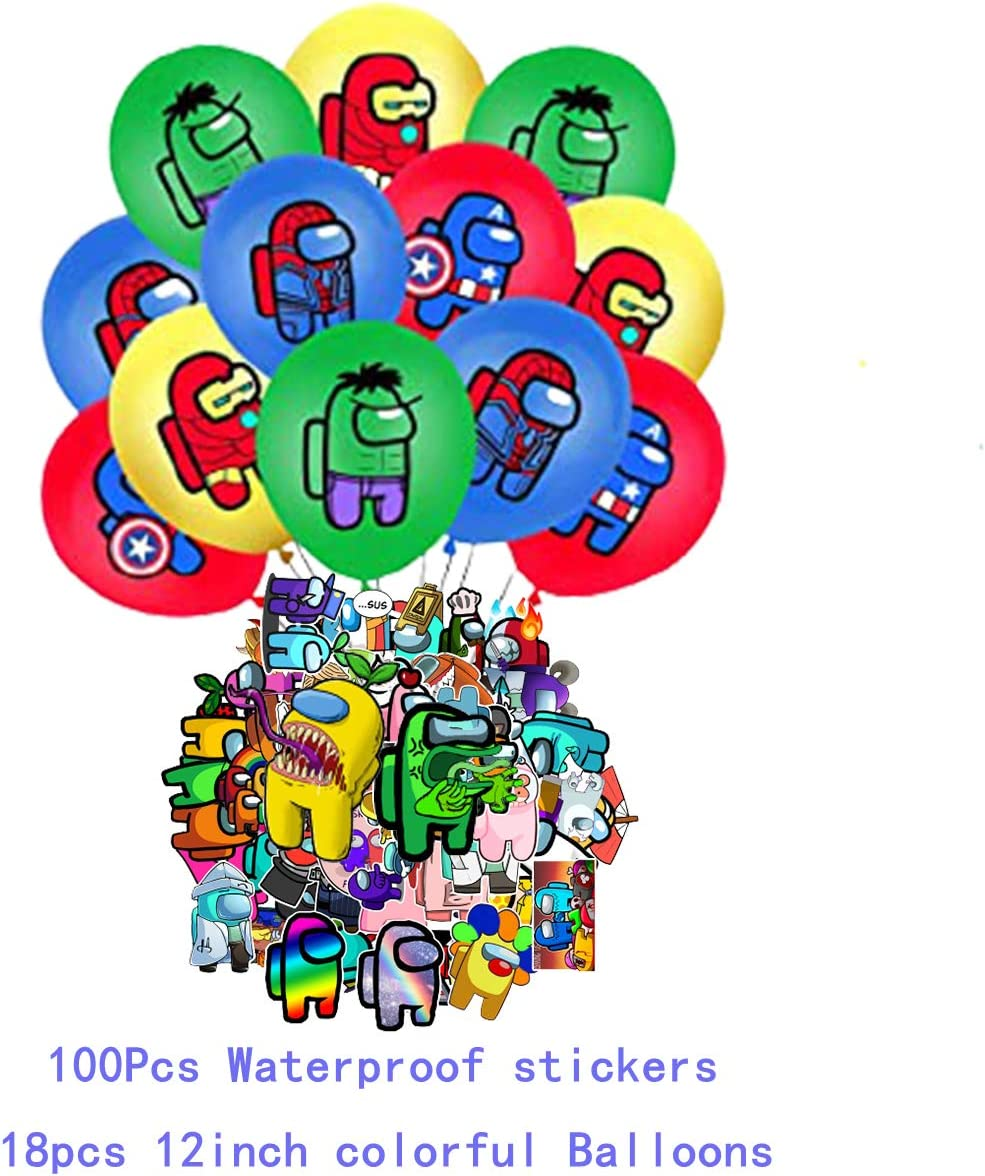 Cupcake Toppers 130 Pcs Among Us Fans Birthday Party Among Us Birthday Party,Party Gifts Gatherings Decorations Cake Topper Among Us Theme Game Party Supplies for Kids with Happy Birthday Banner Balloons,Wreath,Boys and Girls Waterproof stickers