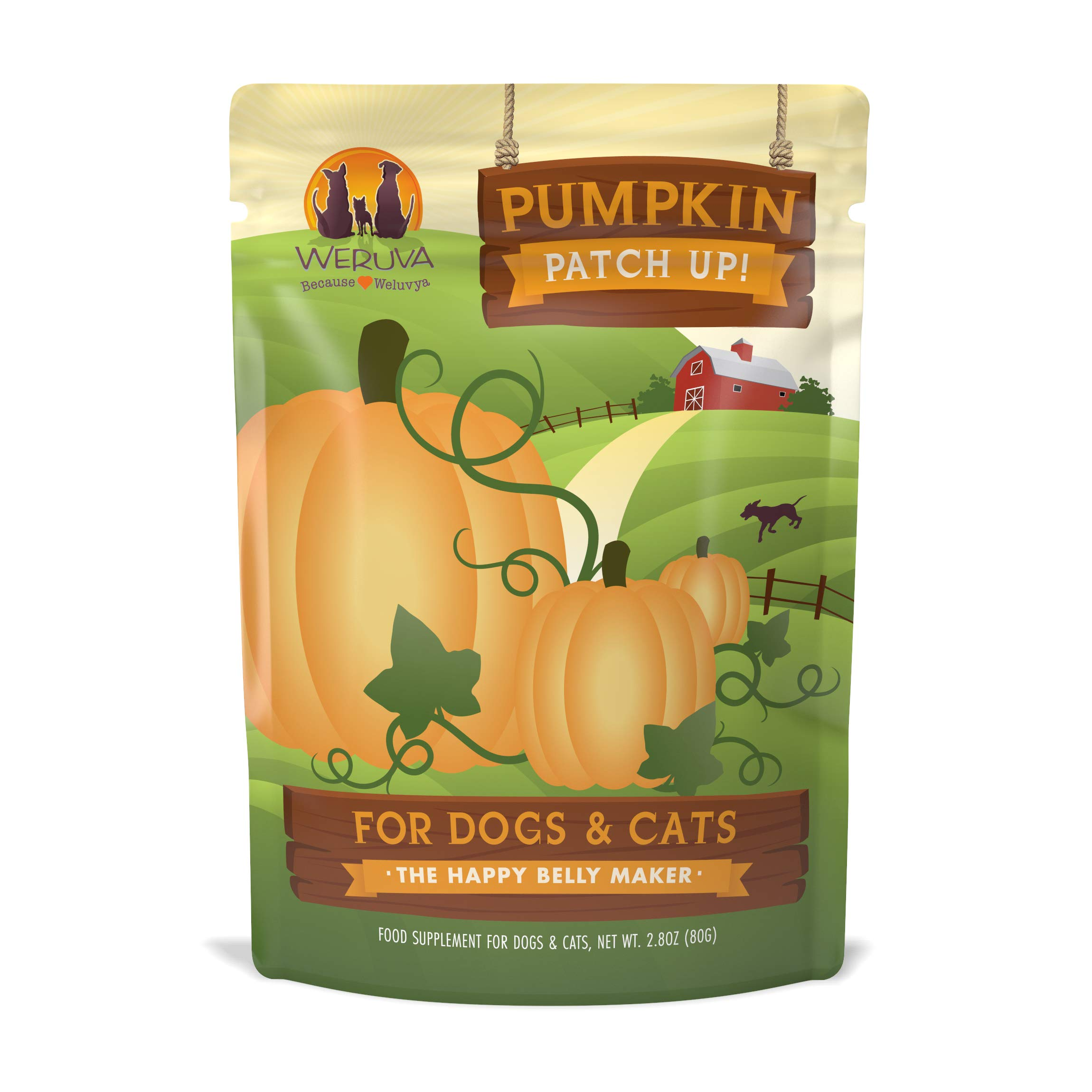 Weruva Pumpkin Patch Up!, Pumpkin Puree Pet Food Supplement For Dogs & Cats, 2.80Oz Pouch (Pack Of 12) by Weruva